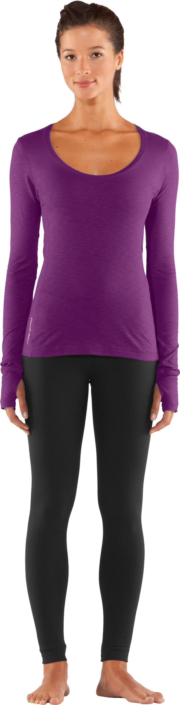 Women's UA Charm Long Sleeve Shirt, Cassis, Front