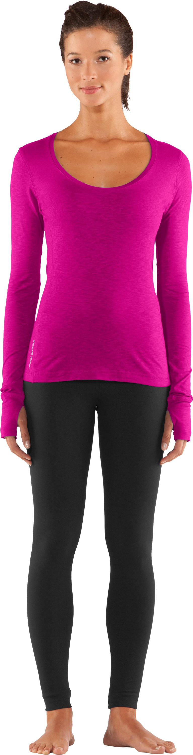 Women's UA Charm Long Sleeve Shirt, Tropic Pink, zoomed image