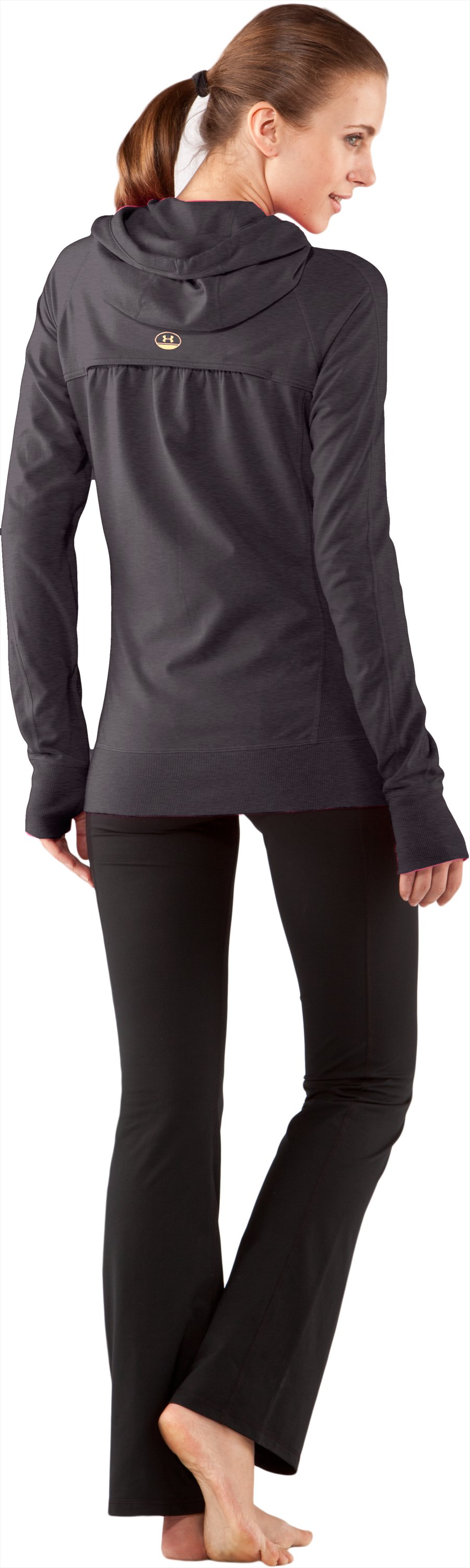 Women's UA Bantam Weight Hoodie, Carbon Heather, Back