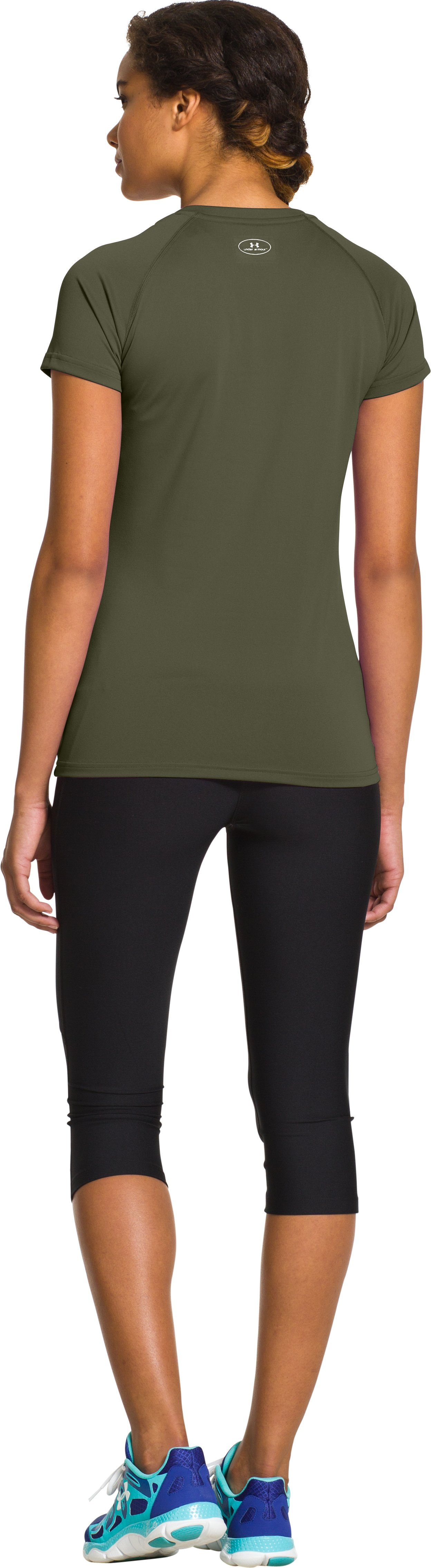 Women's UA Tech™ Short Sleeve V-Neck, Root, Back