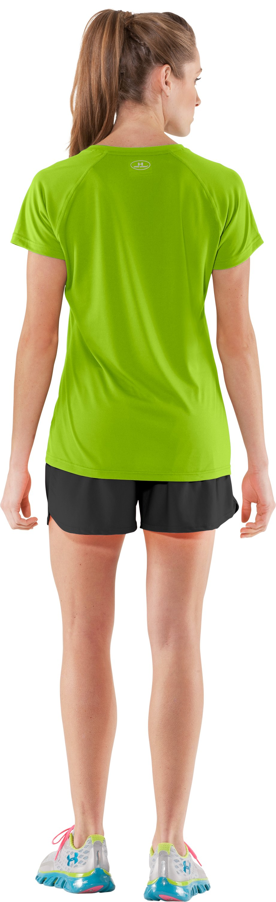Women's UA Tech™ Short Sleeve V-Neck, Fusion, Back