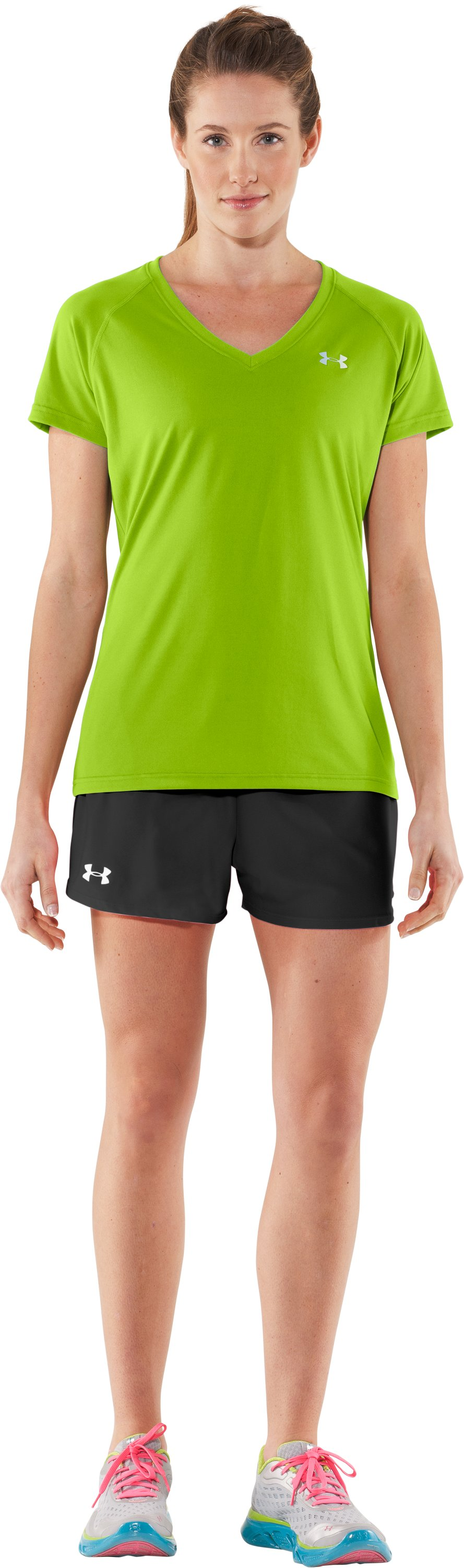 Women's UA Tech™ Short Sleeve V-Neck, Fusion, Front