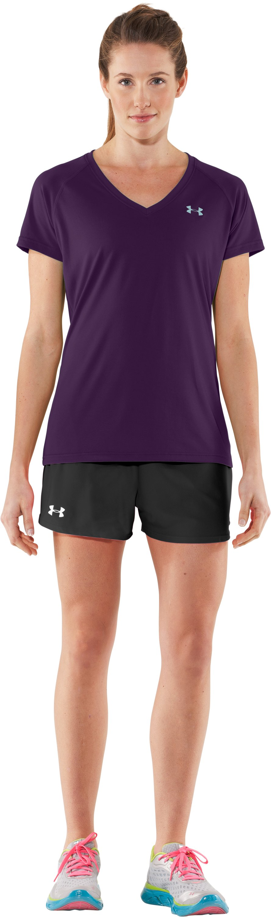 Women's UA Tech™ Short Sleeve V-Neck, Cyclone, zoomed image