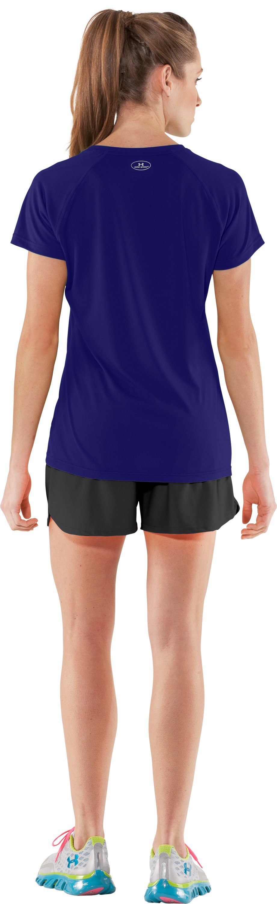 Women's UA Tech™ Short Sleeve V-Neck, Monarchy, Back