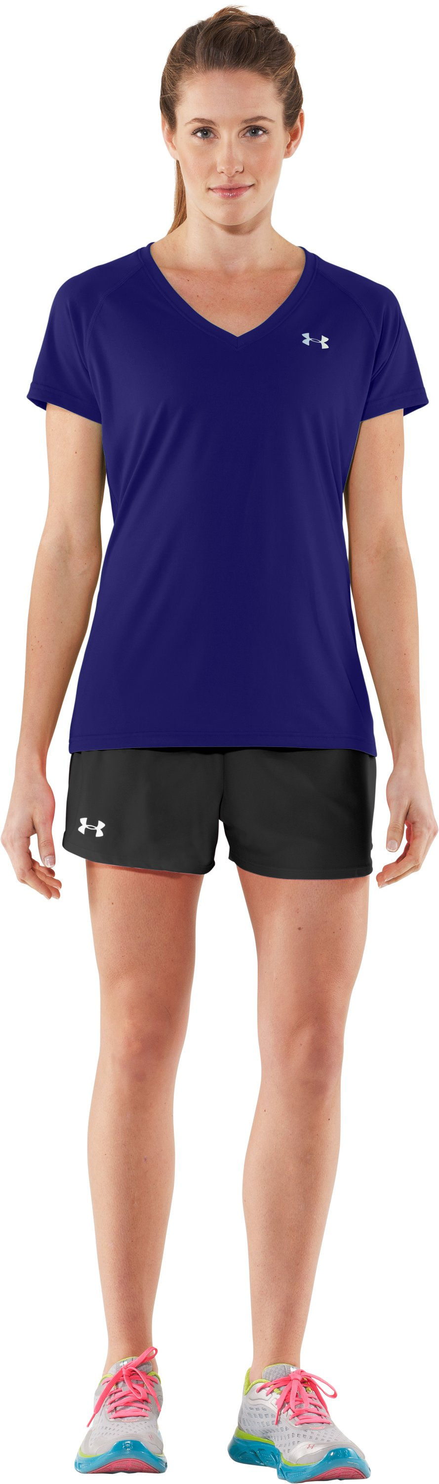 Women's UA Tech™ Short Sleeve V-Neck, Monarchy, Front