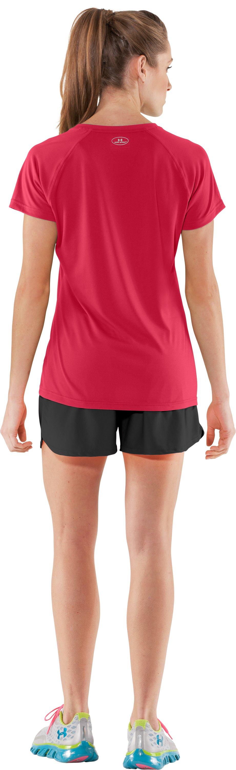 Women's UA Tech™ Short Sleeve V-Neck, Hibiscus, Back