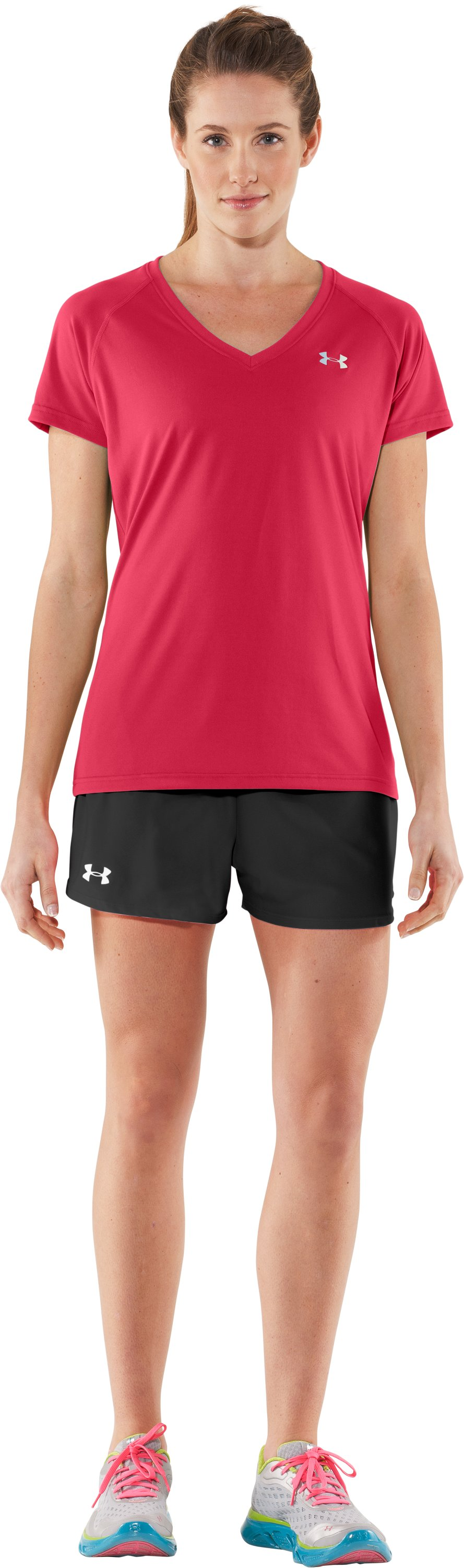 Women's UA Tech™ Short Sleeve V-Neck, Hibiscus, zoomed image
