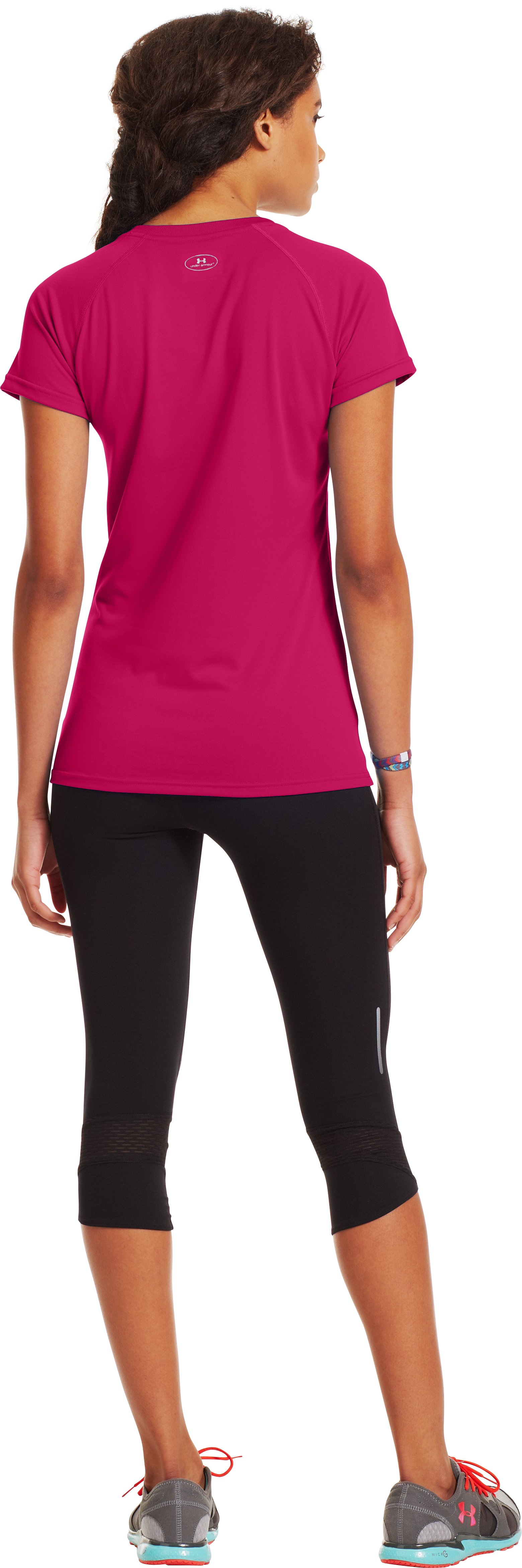 Women's UA Tech™ Short Sleeve V-Neck, EXUBERANT PINK, Back