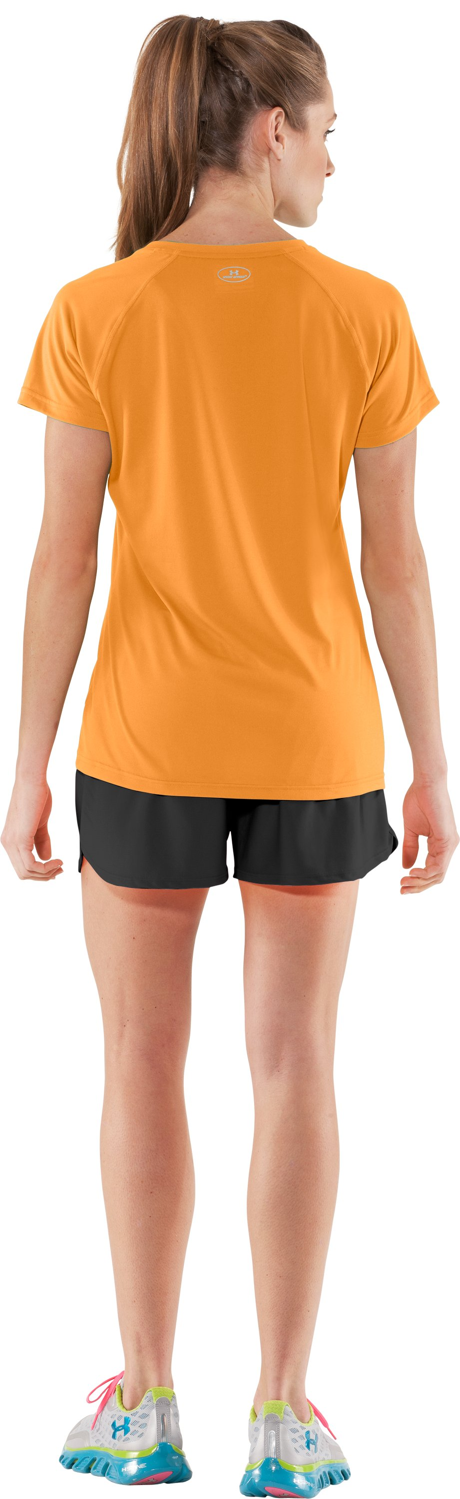 Women's UA Tech™ Short Sleeve V-Neck, Shine, Back
