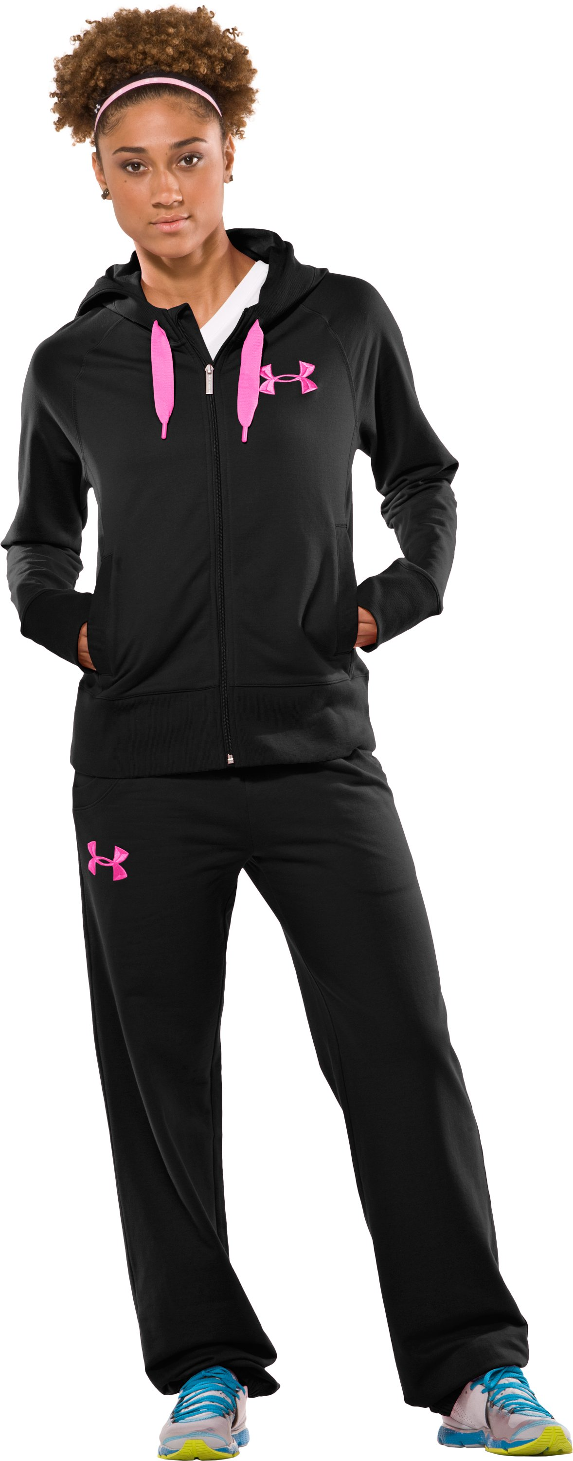 Women's UA Light Charged Cotton® Storm Full Zip, Black , Front
