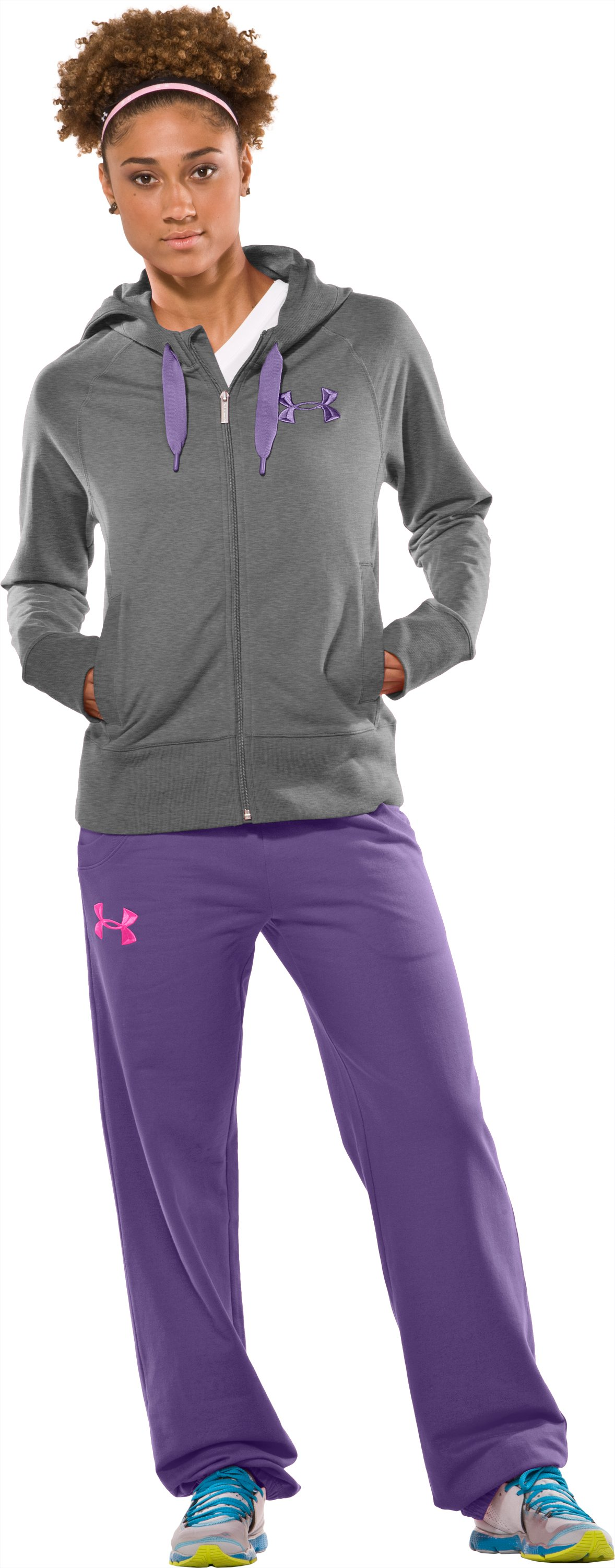 Women's UA Light Charged Cotton® Storm Full Zip, True Gray Heather, Front