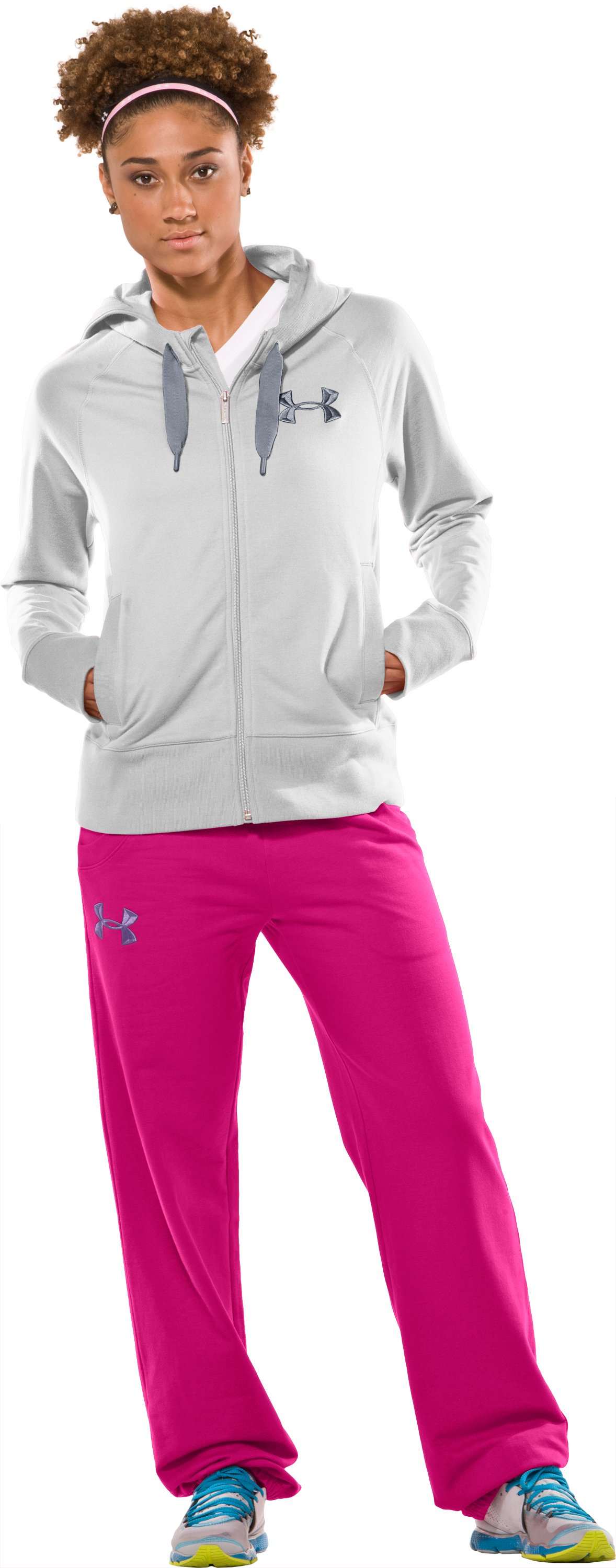 Women's UA Light Charged Cotton® Storm Full Zip, White, Front