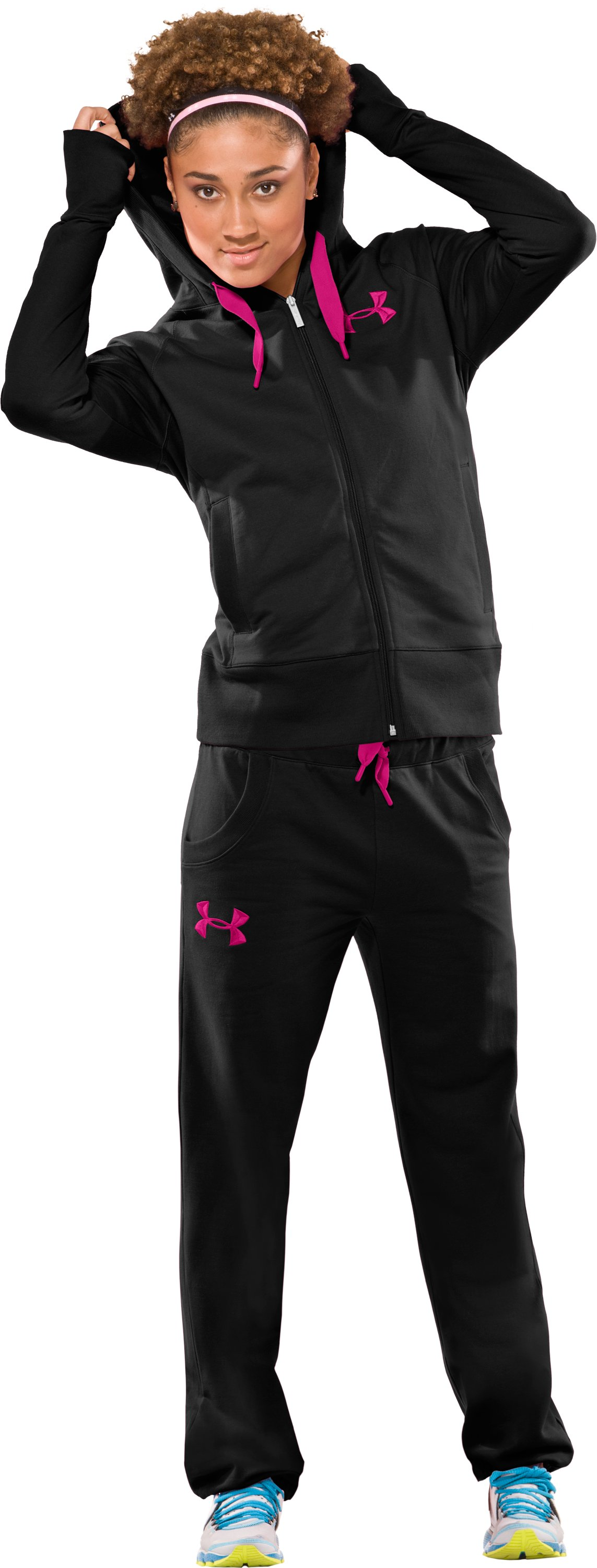 Women's UA Light Charged Cotton® Storm Pants, Black , Front