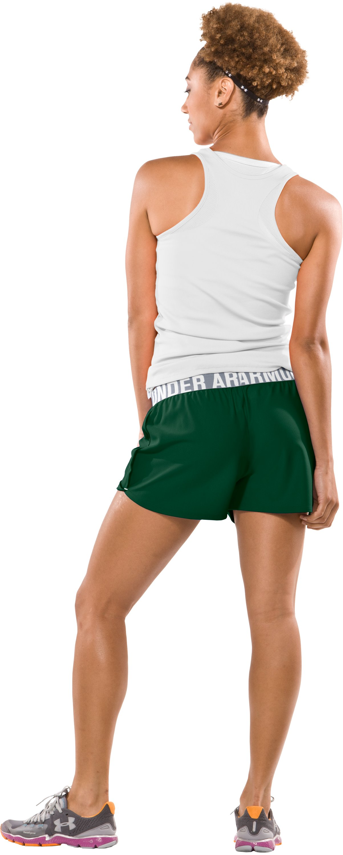 "Women's Play Up 3"" Short, Forest Green, Back"