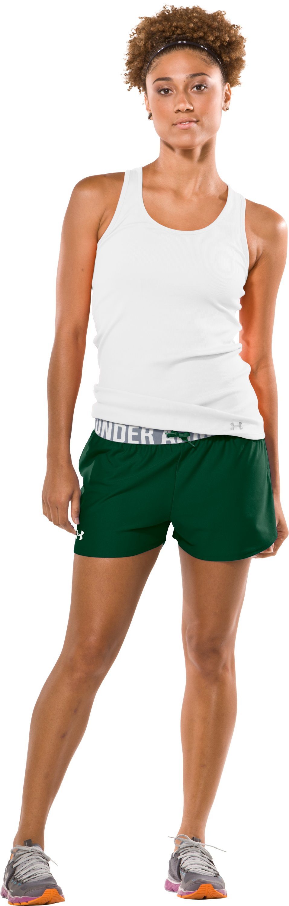 "Women's Play Up 3"" Short, Forest Green, Front"