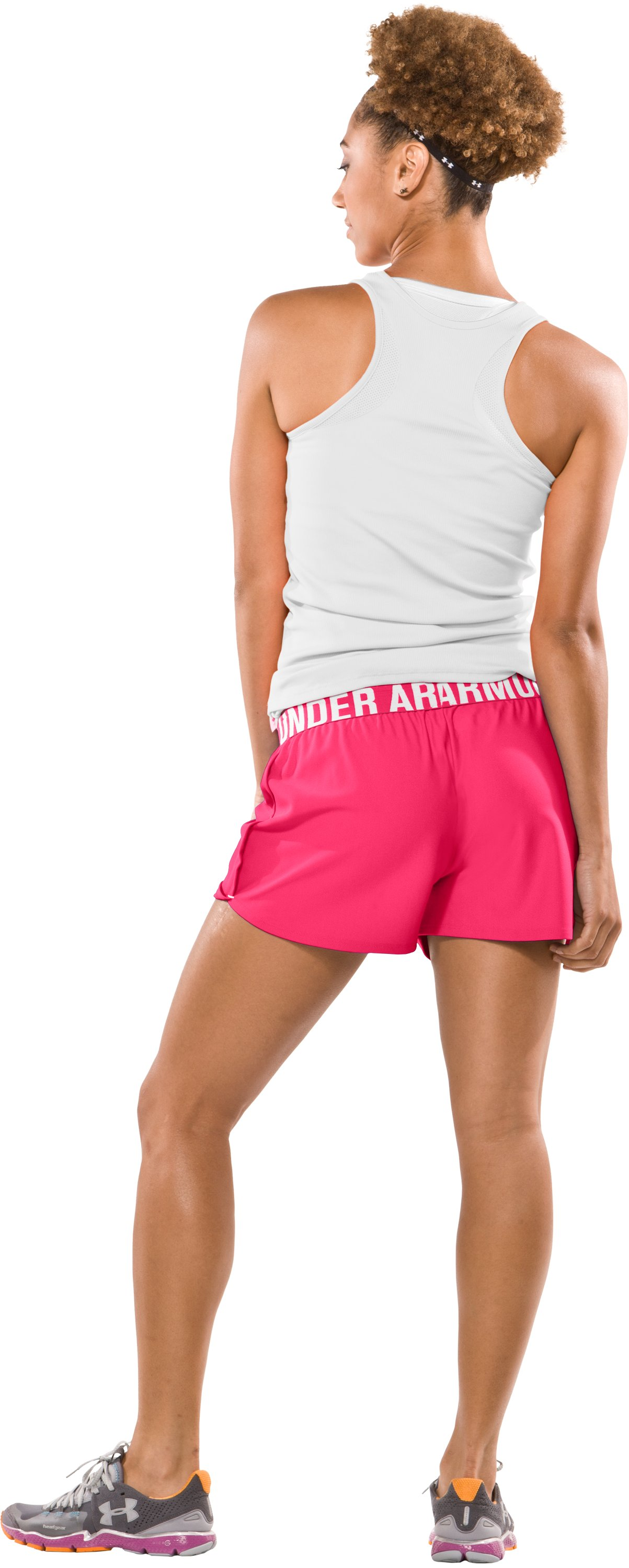 "Women's Play Up 3"" Short, Neo Pulse, Back"