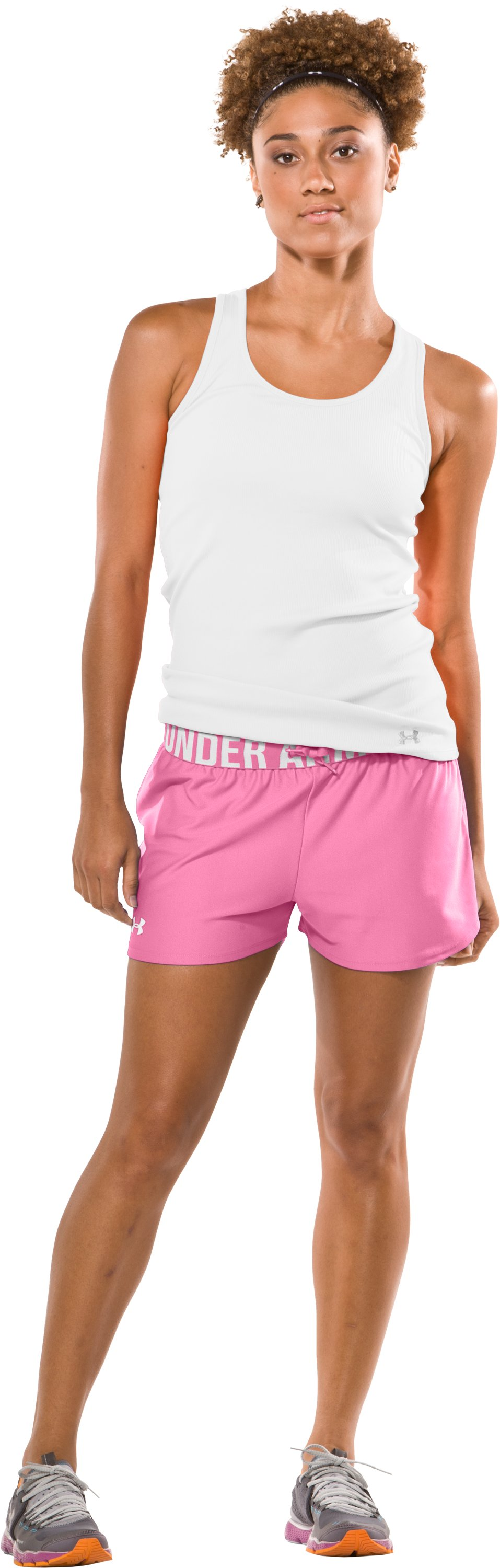 "Women's Play Up 3"" Short, Fluo Pink, Front"