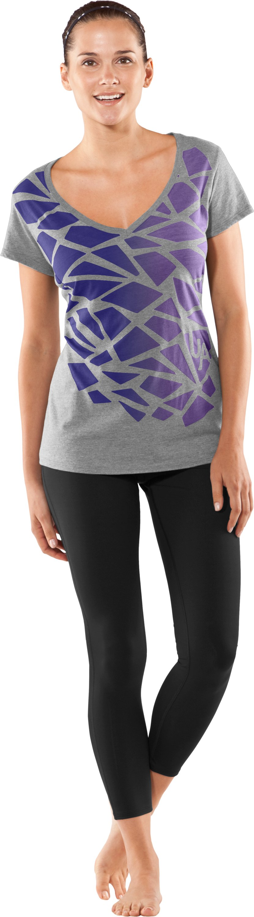 UA Charm Burnout T-Shirt, True Gray Heather, Front