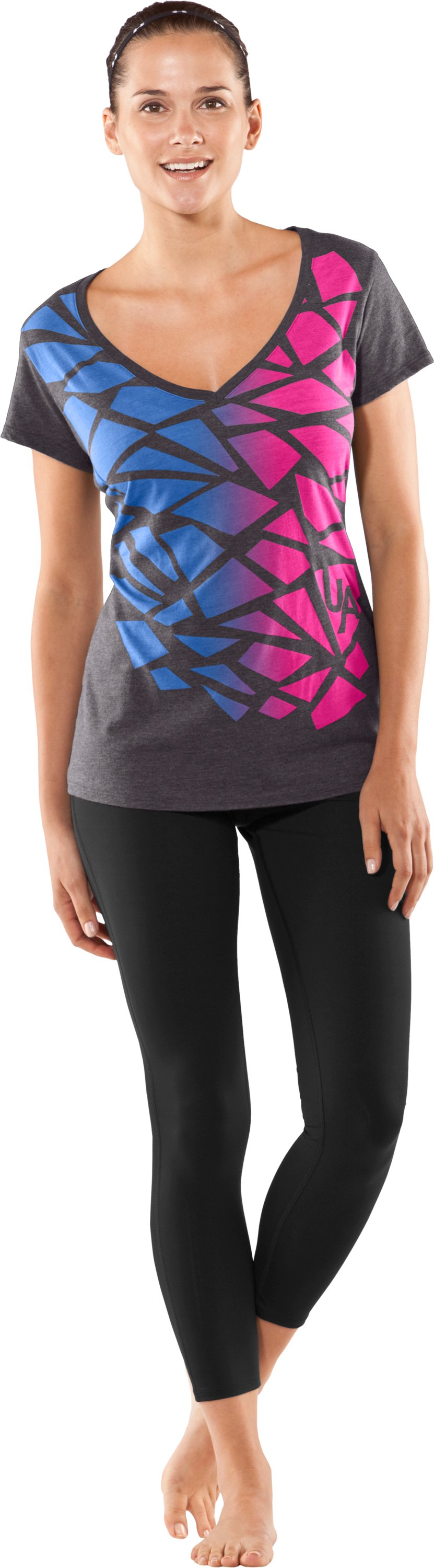 UA Charm Burnout T-Shirt, Carbon Heather, Front
