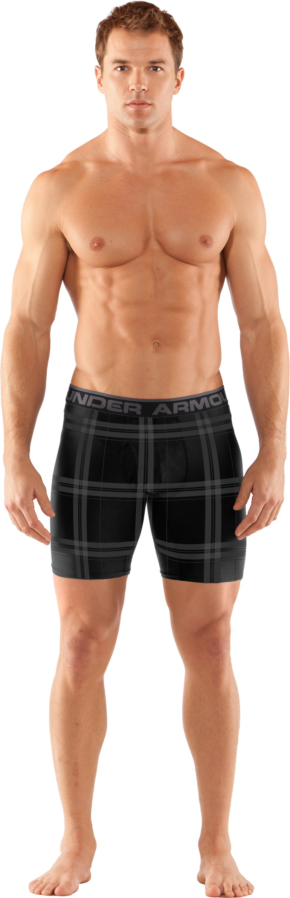 "Men's The Original Printed 6"" Boxerjock® Boxer Briefs, Black , Front"