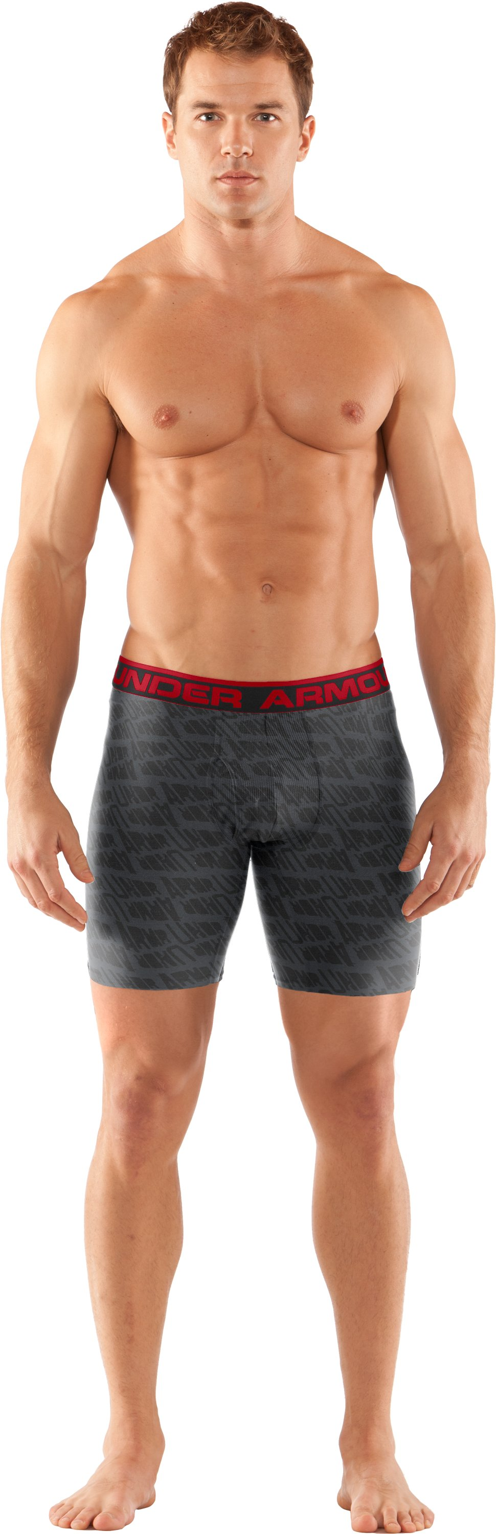 "Men's The Original Printed 6"" Boxerjock® Boxer Briefs, Graphite, Front"