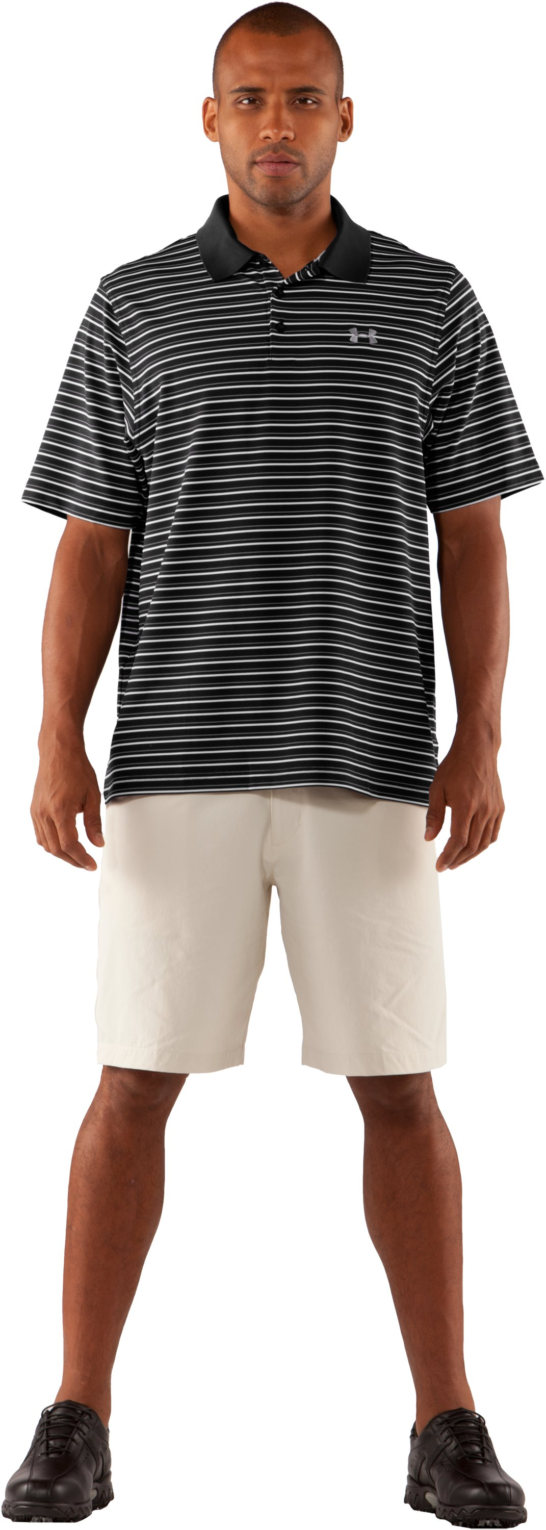 Men's UA Performance Stripe Polo 2.0, Black , Front