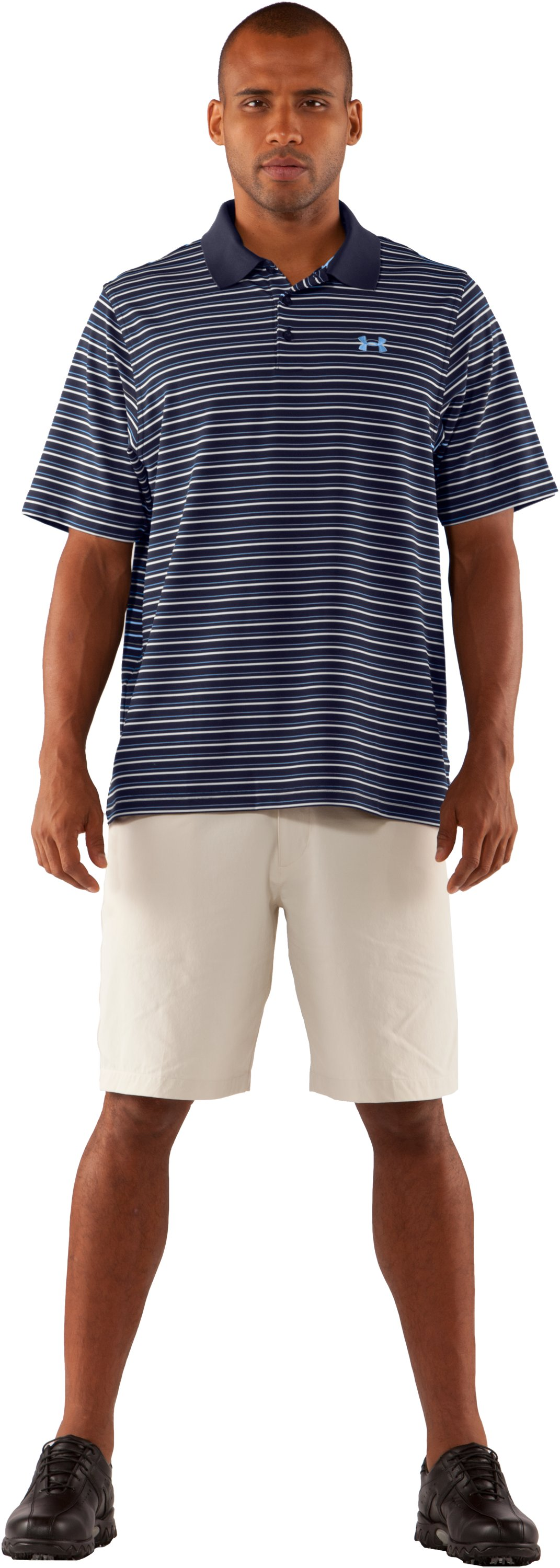 Men's UA Performance Stripe Polo 2.0, Midnight Navy, Front