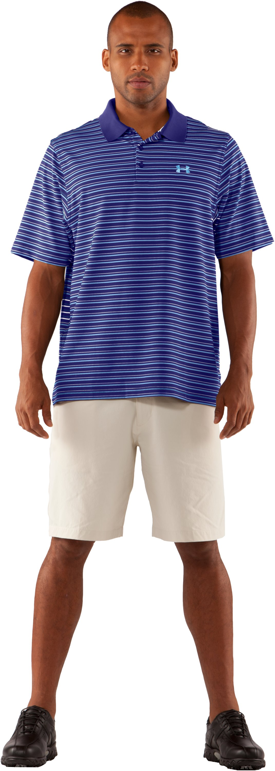 Men's UA Performance Stripe Polo 2.0, Monarchy, Front