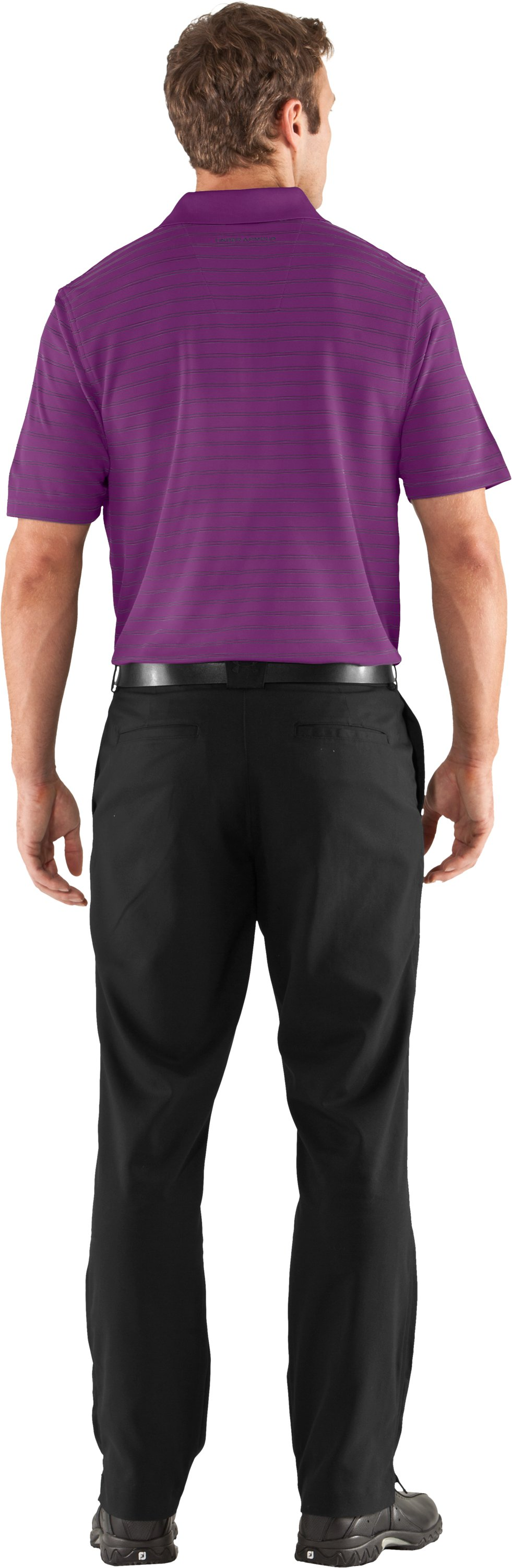 Men's UA Draw Stripe Pique Polo 2.0, Cassis, Back