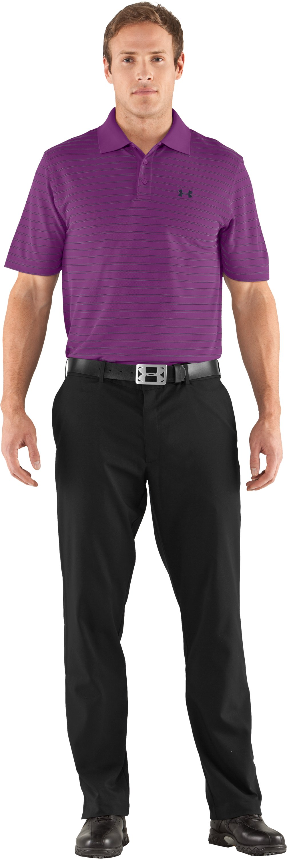 Men's UA Draw Stripe Pique Polo 2.0, Cassis, zoomed image