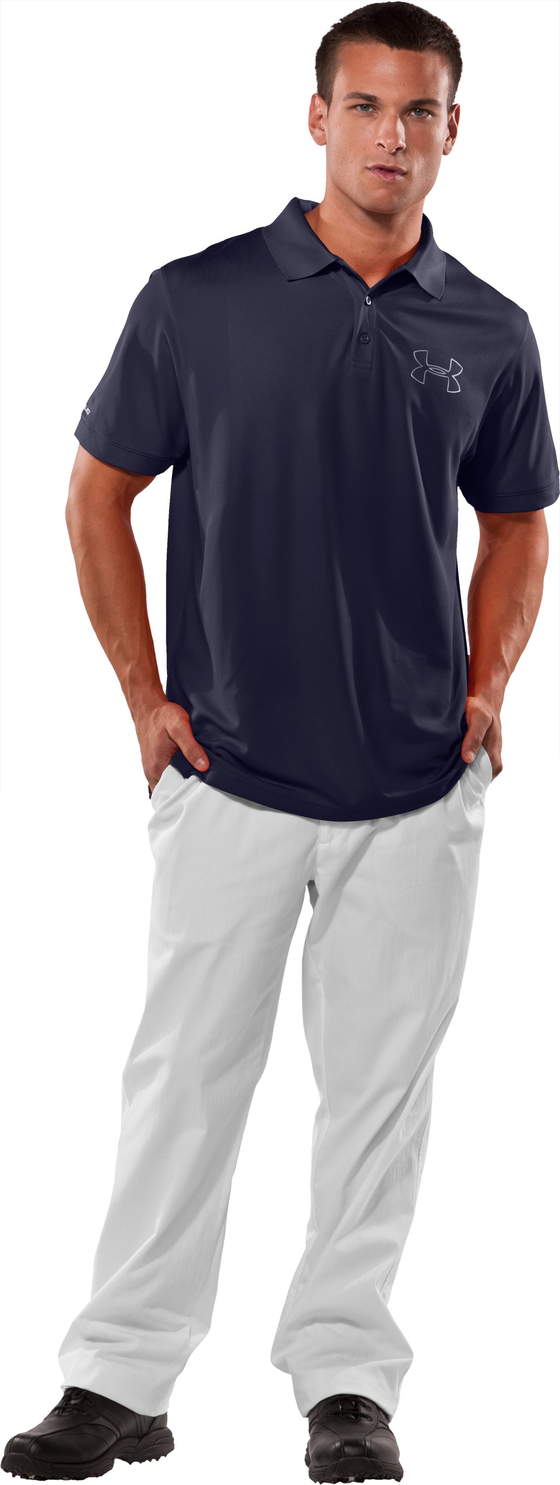 Men's coldblack® Outline Logo Polo, Midnight Navy, Front