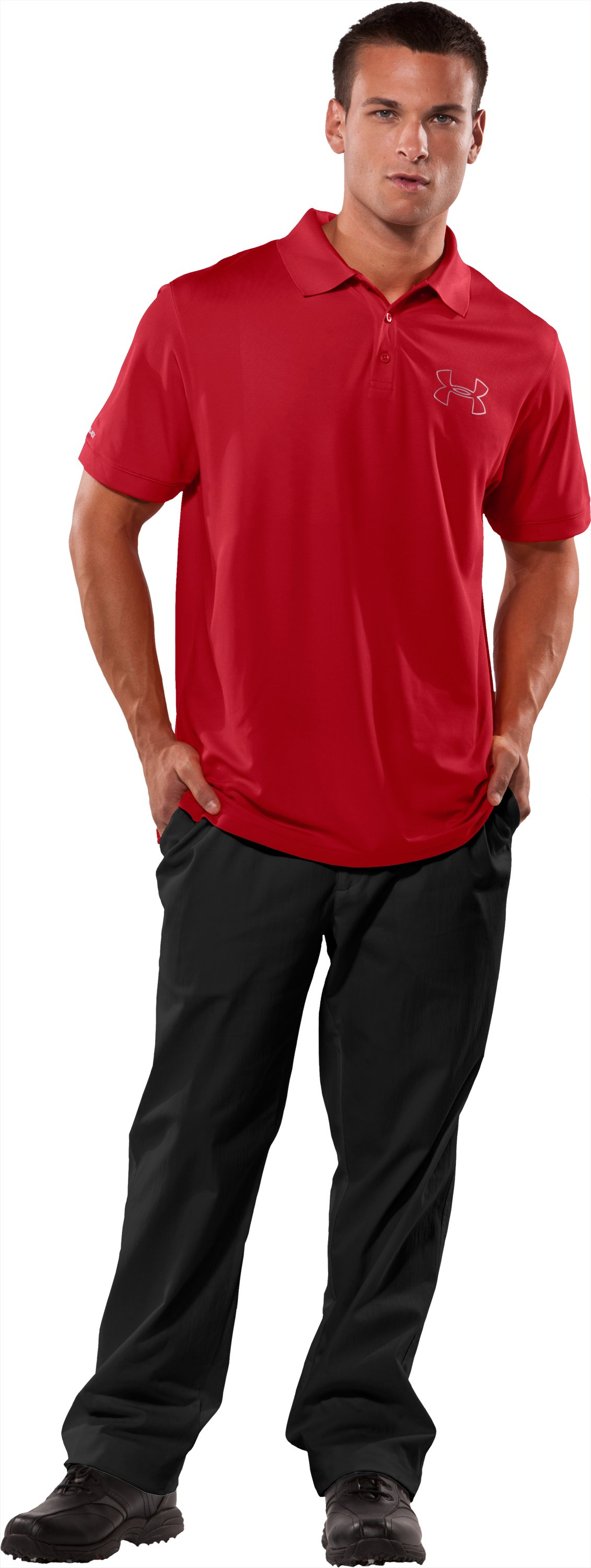 Men's coldblack® Outline Logo Polo, Red, Front