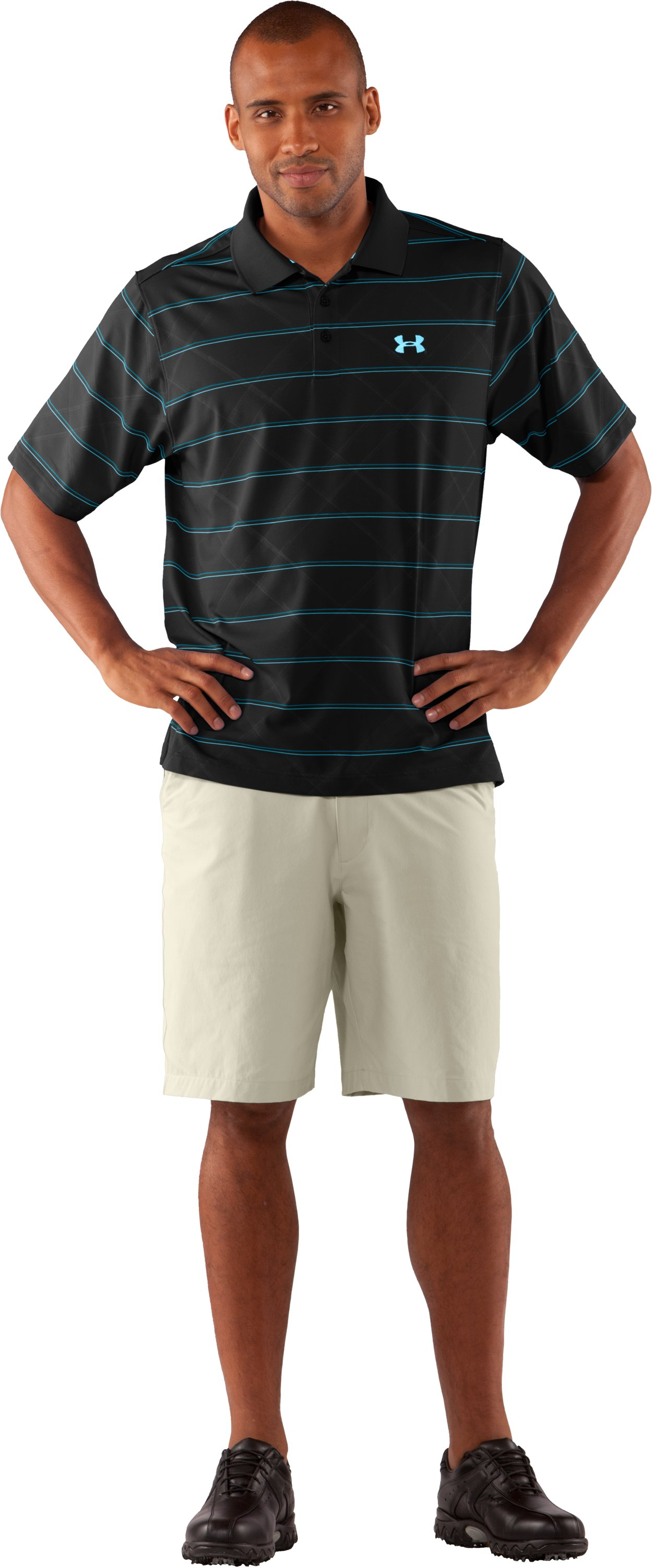 Men's UA Embossed Stripe Polo 2.0, Black , Front
