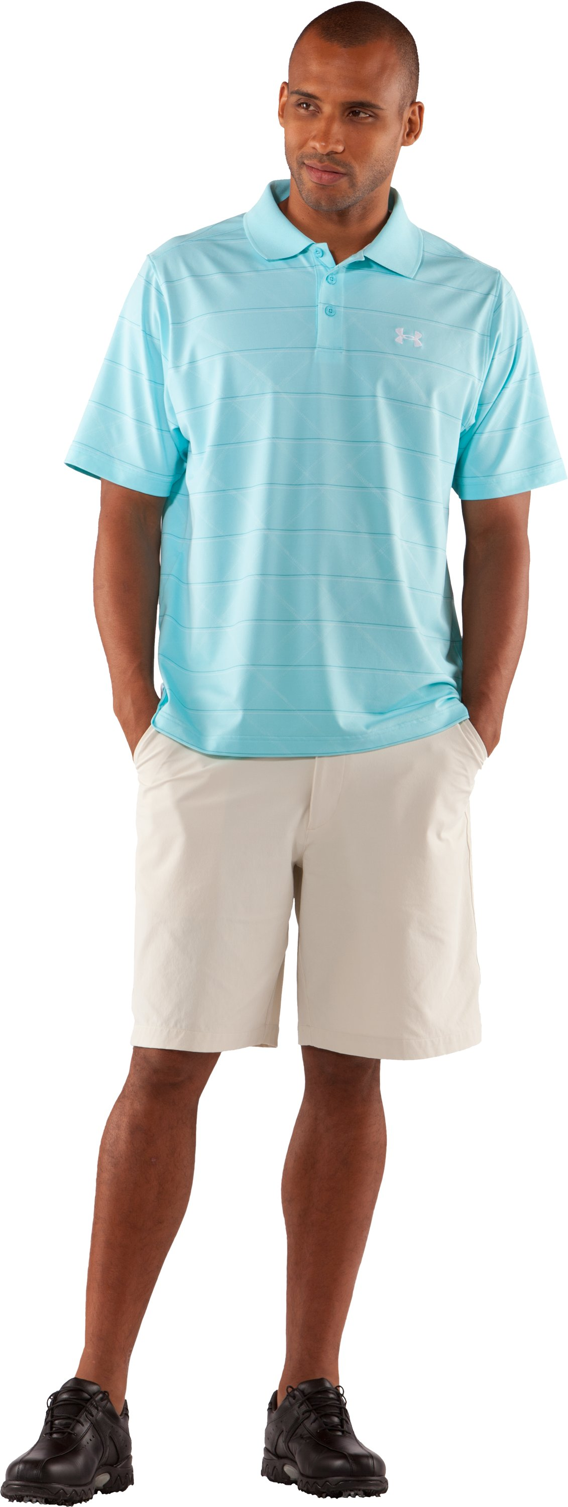 Men's UA Embossed Stripe Polo 2.0, Tobago, Front