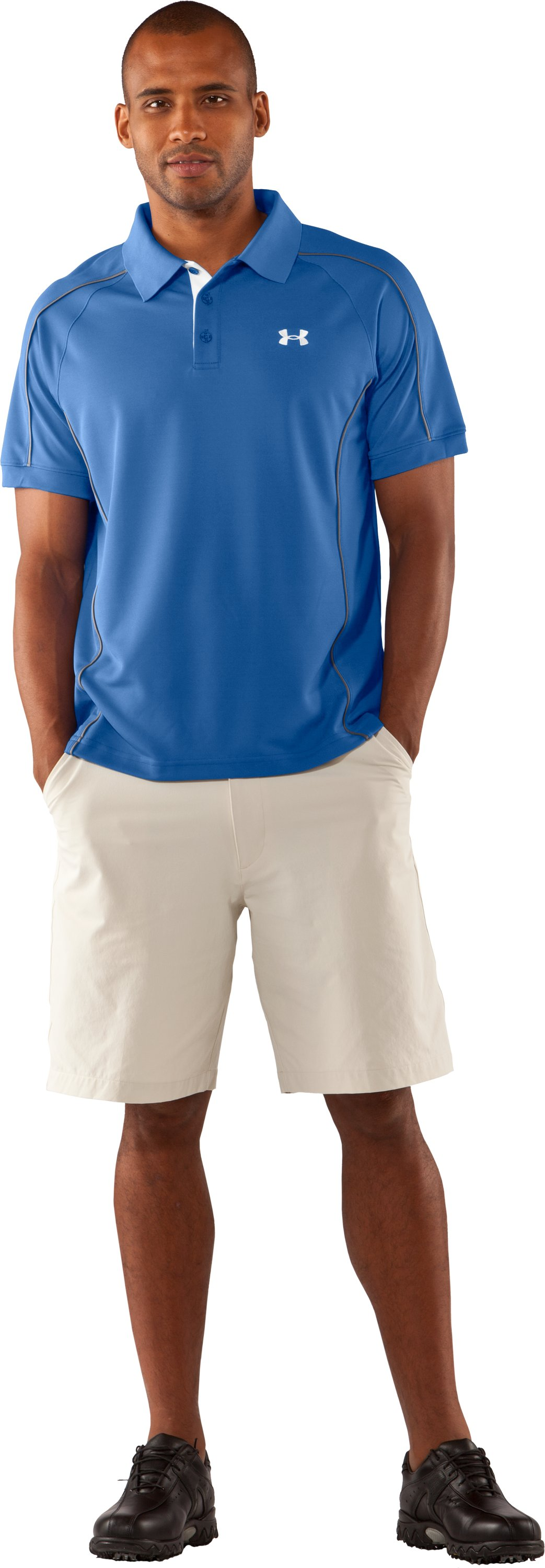 Men's UA Performance Pique Colorblock Polo, Moody, Front