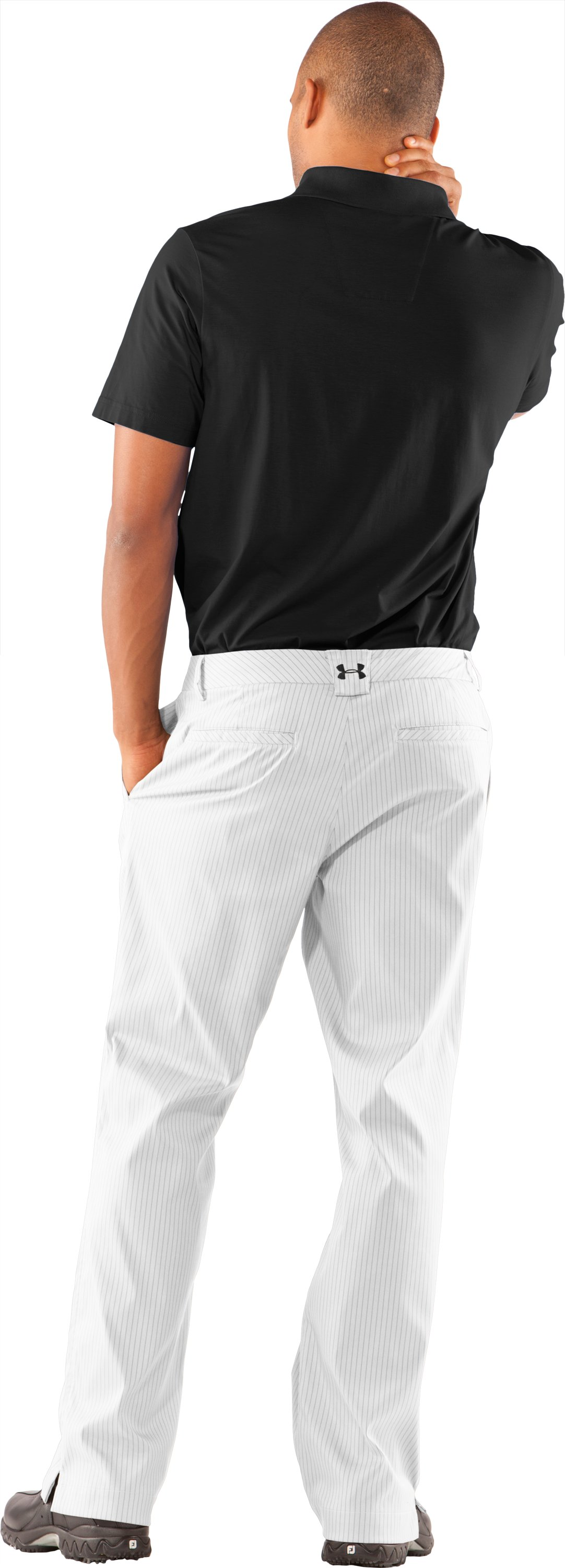 Men's UA Forged Stripe Pants 2.0, White, Back