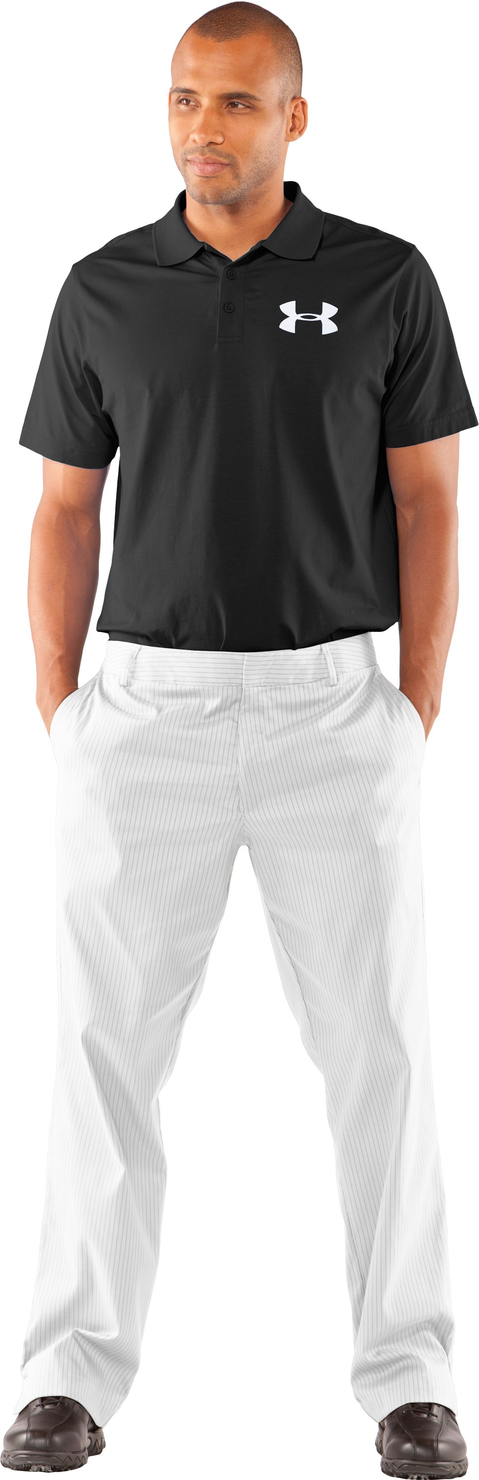Men's UA Forged Stripe Pants 2.0, White, zoomed image