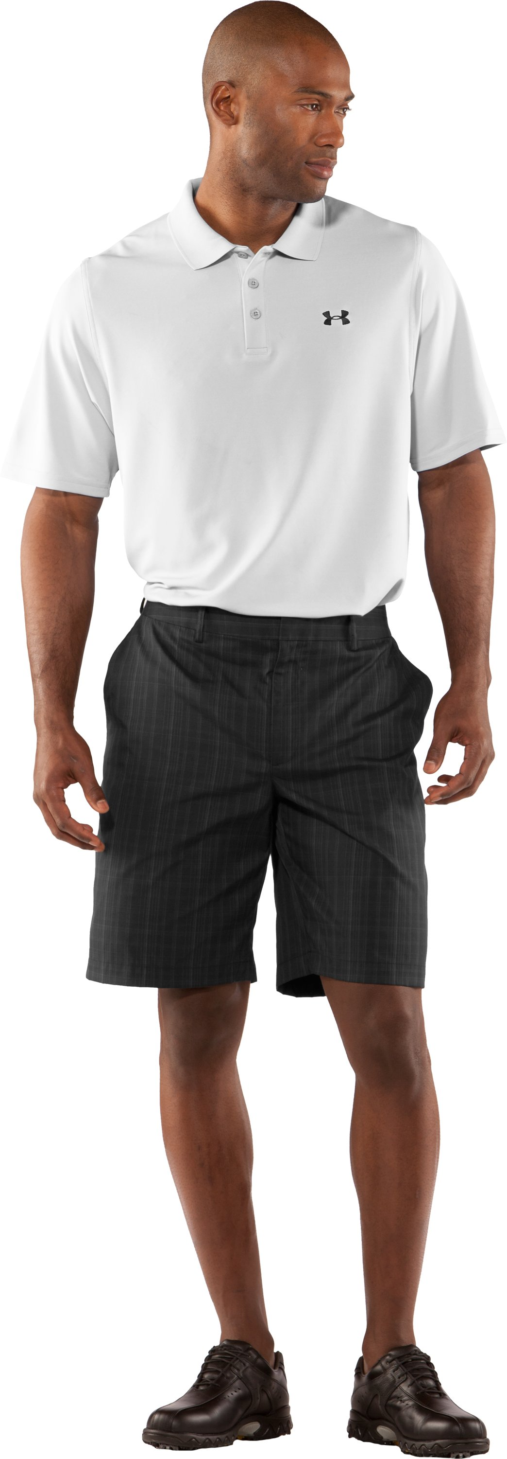 Men's UA Performance Plaid Shorts Uno, Black , Front
