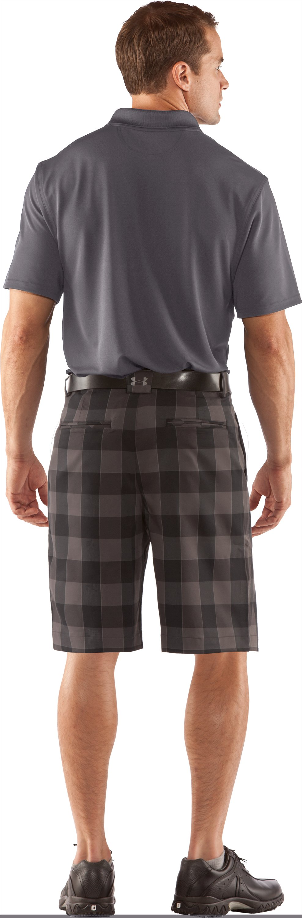 "Men's UA Square Plaid 10.5"" Golf Shorts, Black , Back"