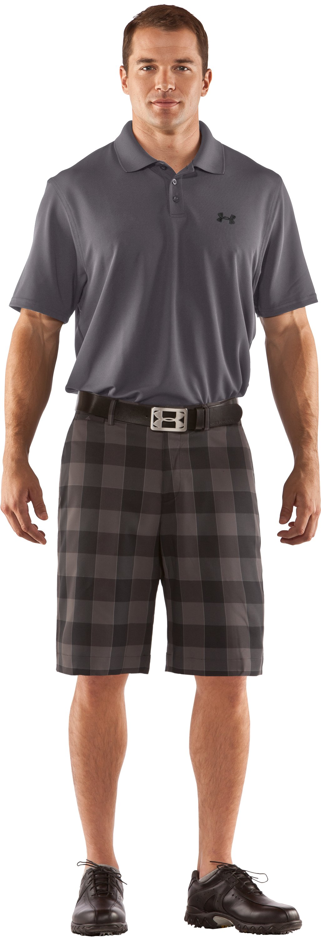 "Men's UA Square Plaid 10.5"" Golf Shorts, Black , zoomed image"