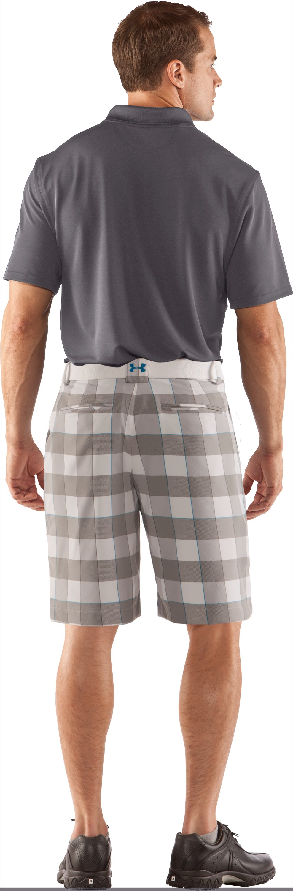 "Men's UA Square Plaid 10.5"" Golf Shorts, White, Back"