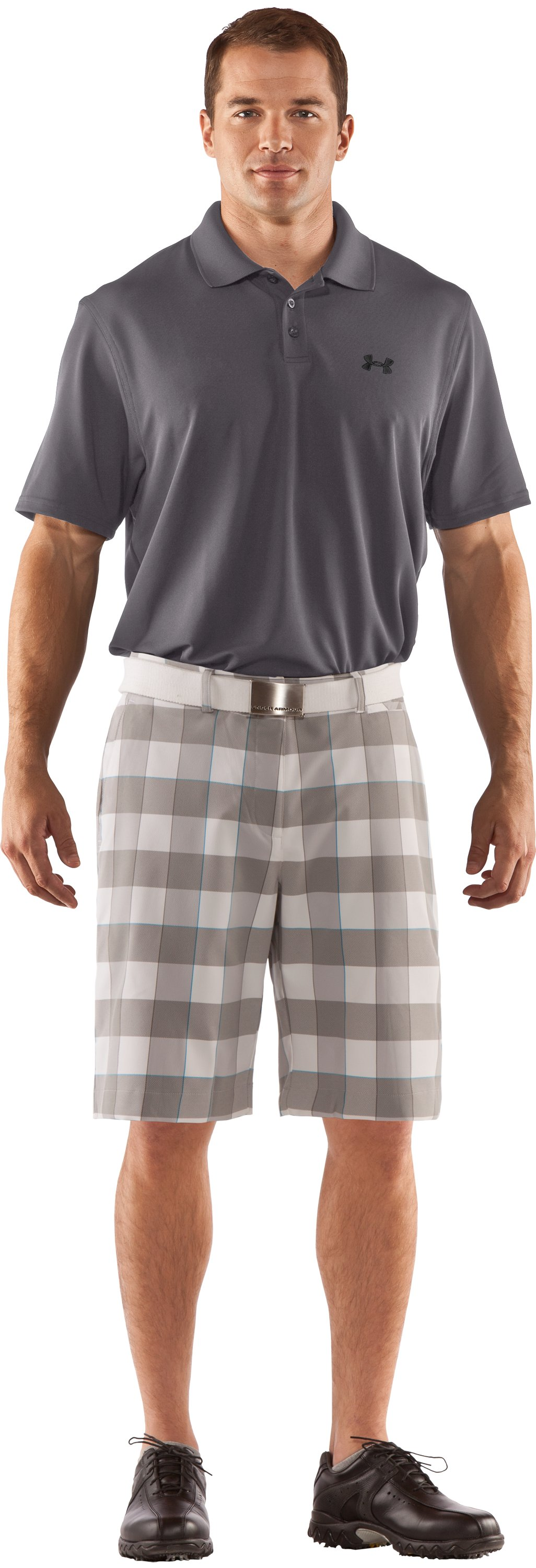 "Men's UA Square Plaid 10.5"" Golf Shorts, White, Front"