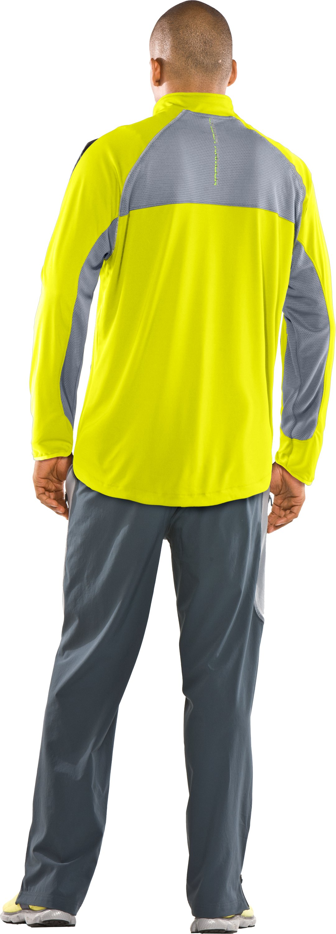 Men's UA Run ¼ Zip Jacket, High-Vis Yellow, Back