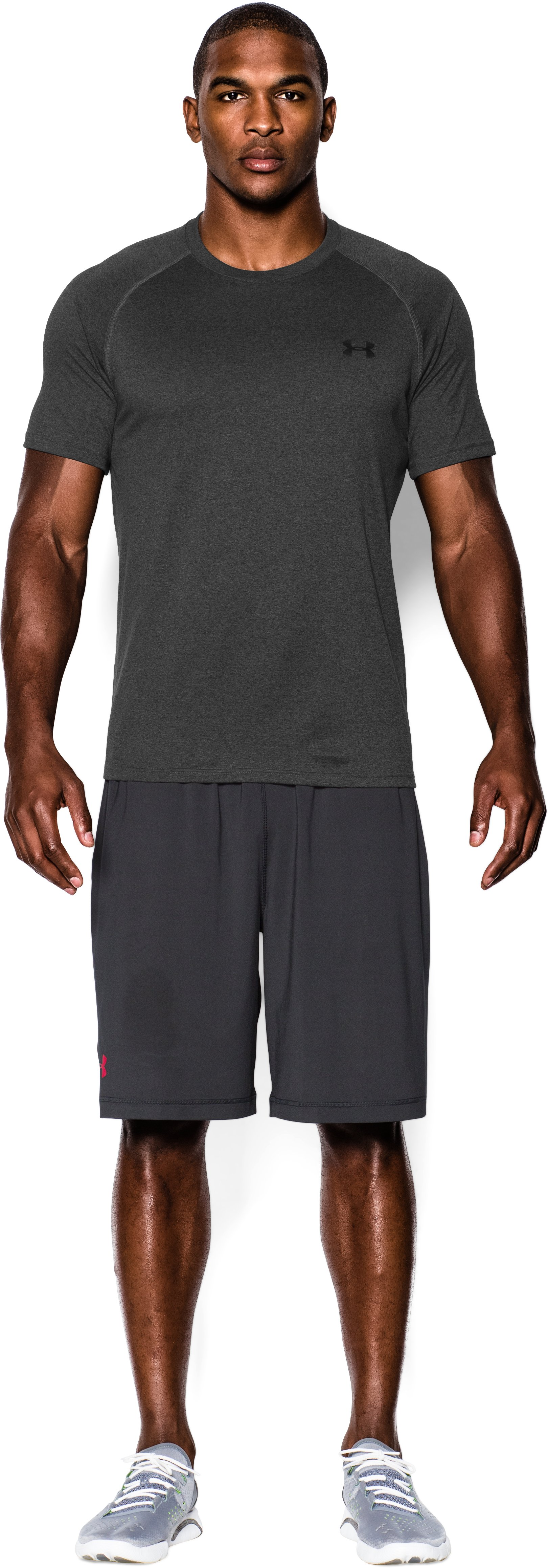 Men's UA Tech™ Short Sleeve T-Shirt, Carbon Heather, zoomed image