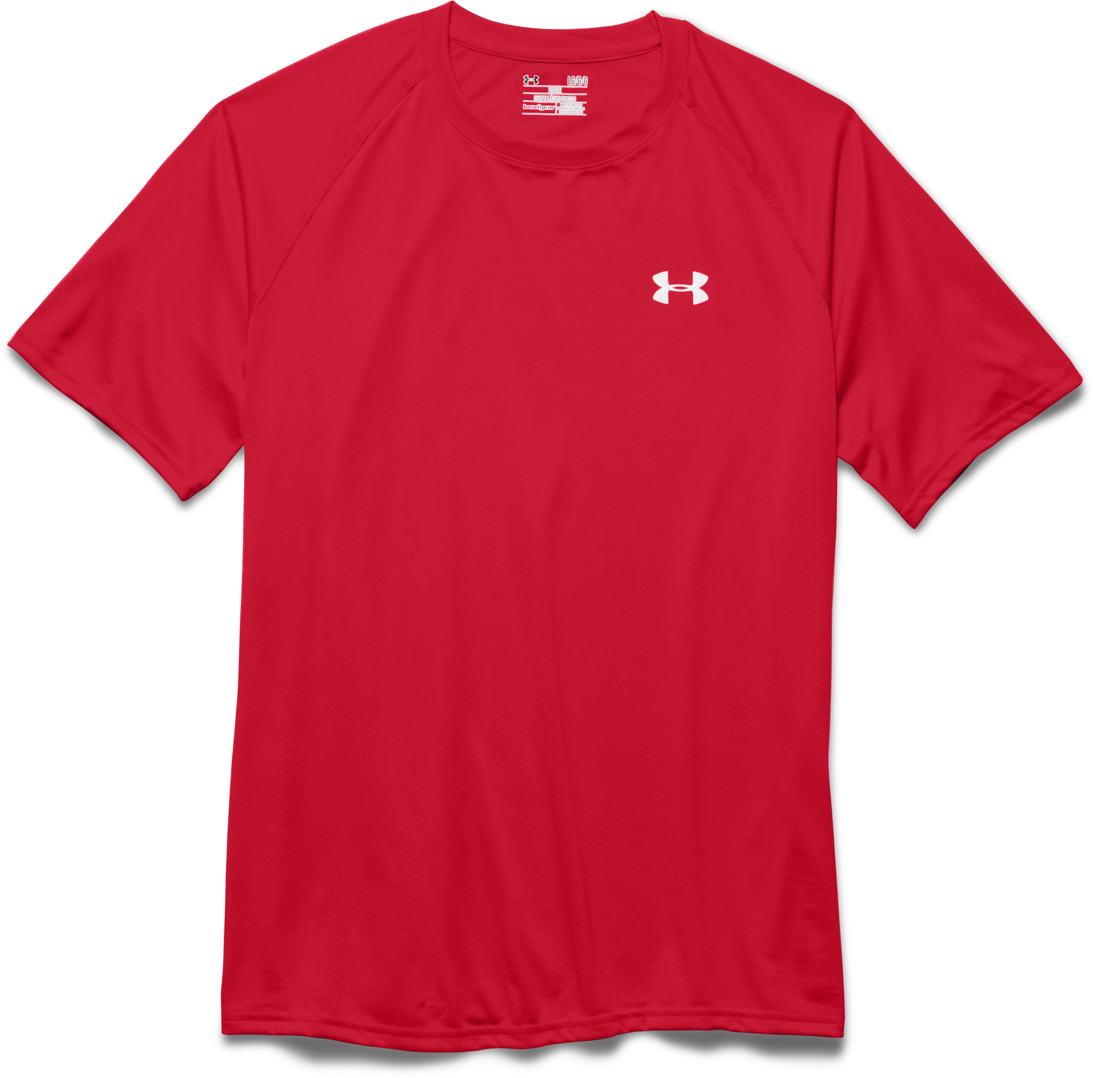 Men's UA Tech™ Short Sleeve T-Shirt, Red, Laydown