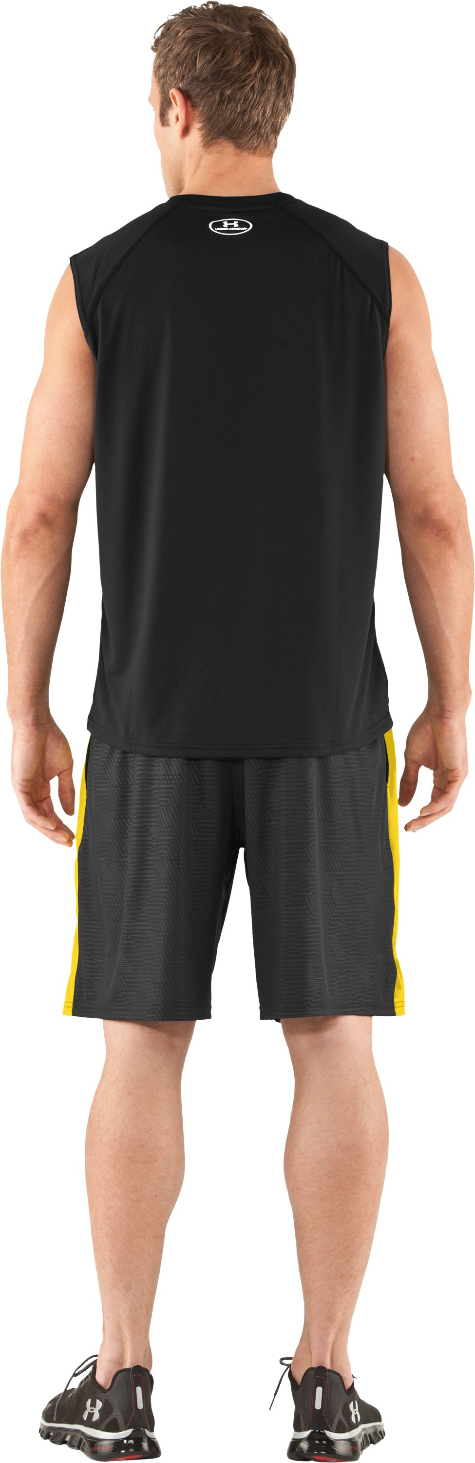 Men's UA Tech™ Sleeveless T-Shirt, Black , Back