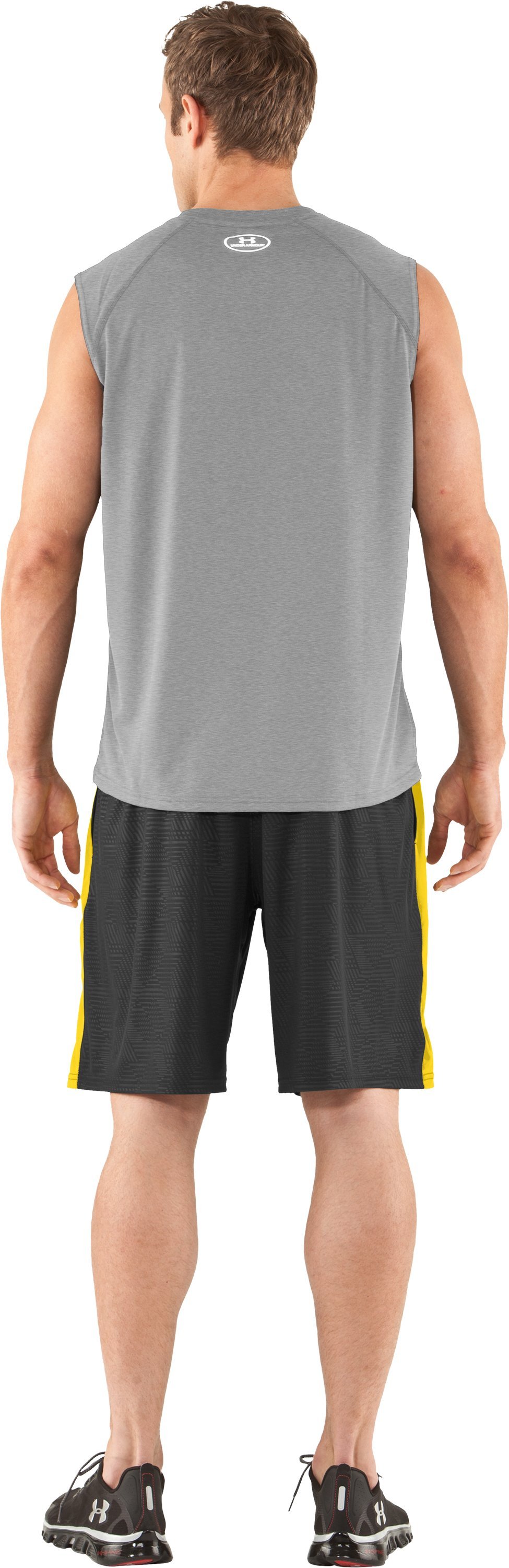 Men's UA Tech™ Sleeveless T-Shirt, True Gray Heather, Back