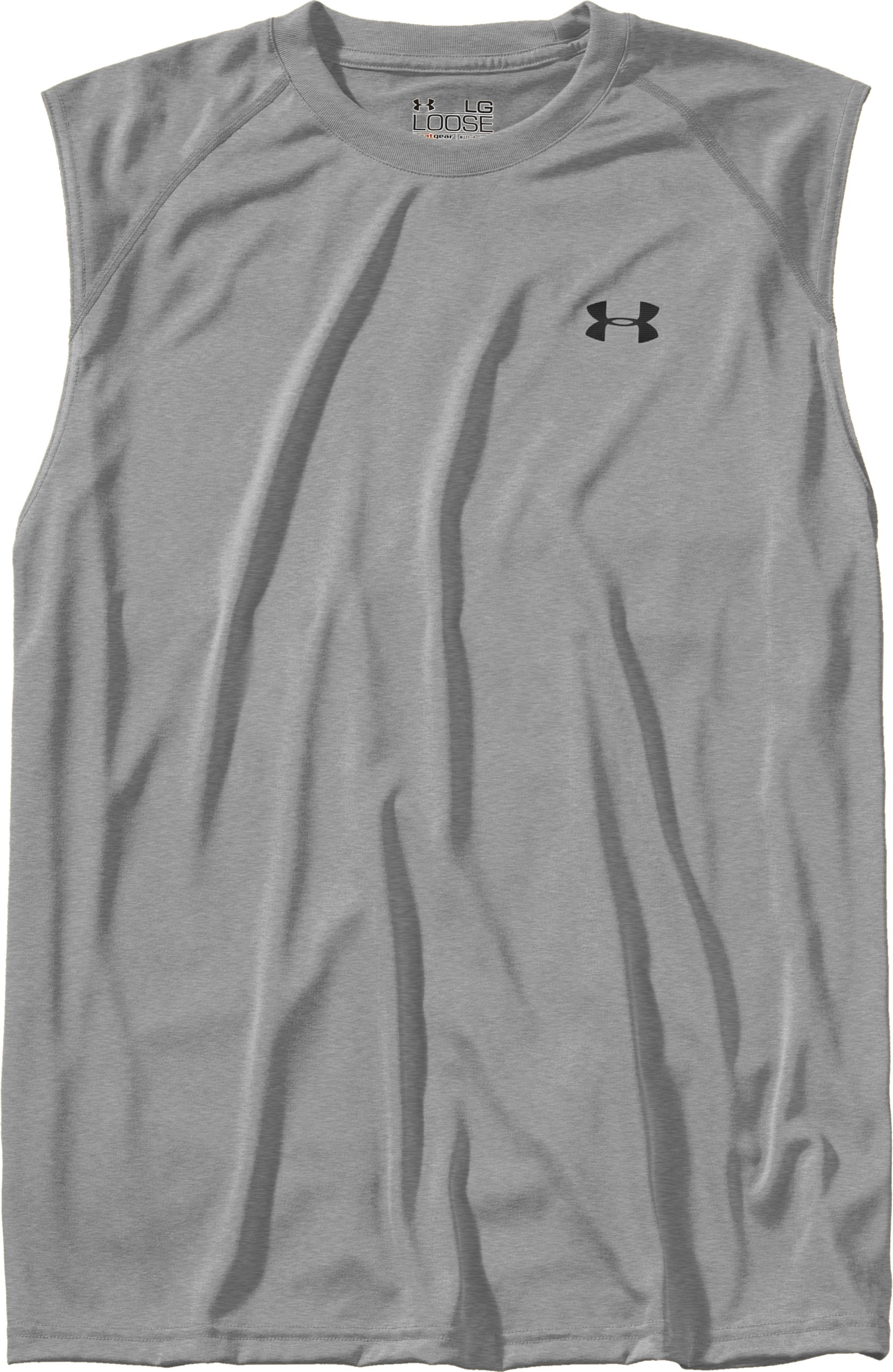 Men's UA Tech™ Sleeveless T-Shirt, True Gray Heather, Laydown