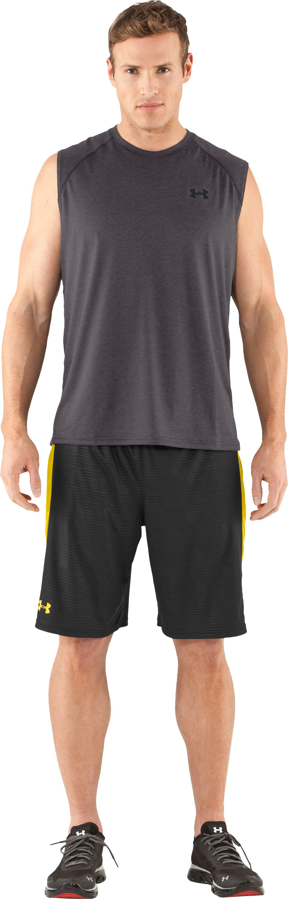 Men's UA Tech™ Sleeveless T-Shirt, Carbon Heather, Front