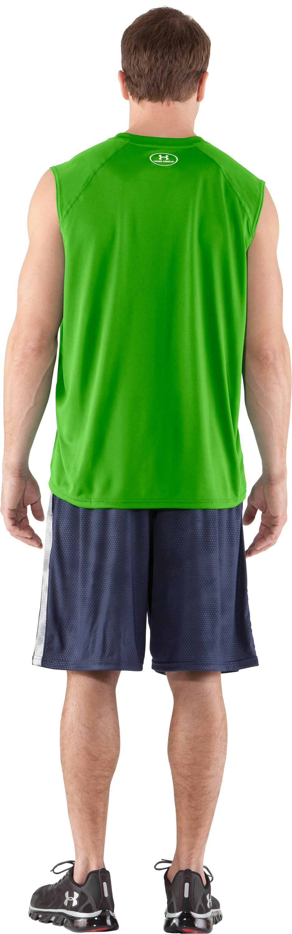 Men's UA Tech™ Sleeveless T-Shirt, PARROT GREEN, Back
